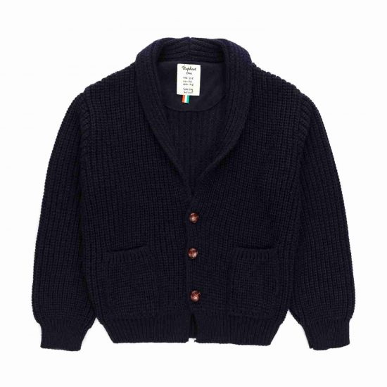 Dark blue jacket in English rib tricot with V-neck and leather buttons