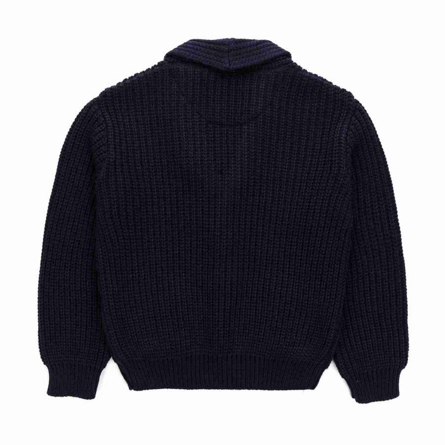 Dark blue jacket in English rib tricot with V-neck and leather buttons | Nupkeet Kids