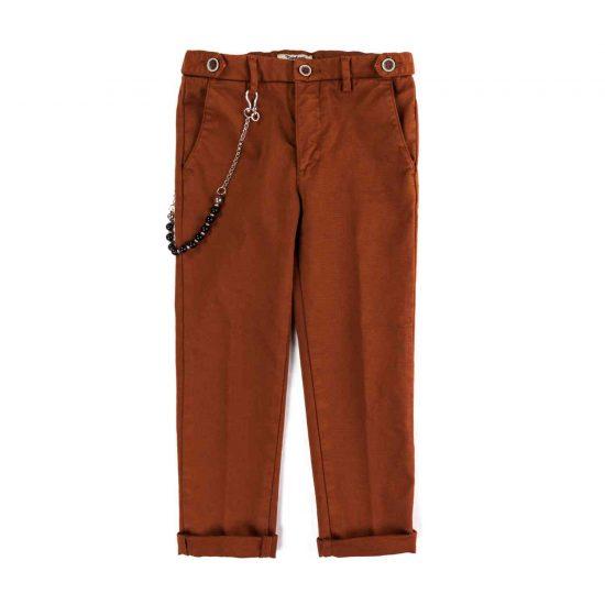 Pantalone lungo con tasche e alamari in operato tinto capo Nupkeet