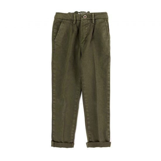 Garment-dyed military green gabardine trousers with chino pockets and pleats