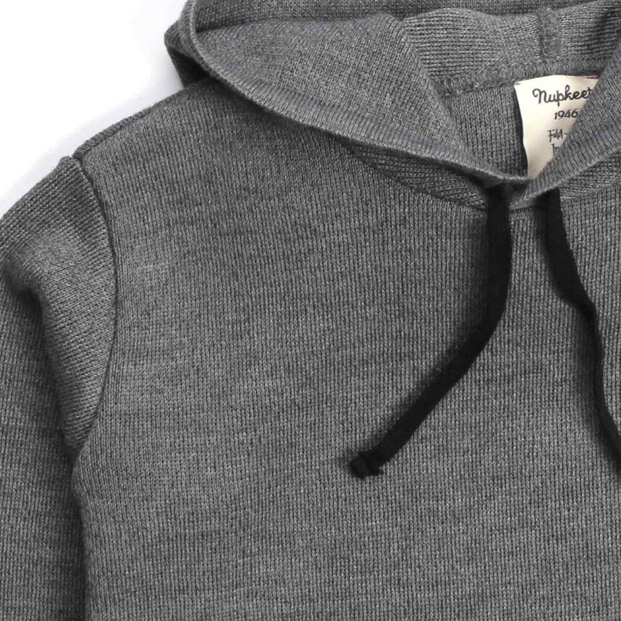 Nupkeet 1946 - Zebra grigio scuro - Pullover in tricot con cappuccio