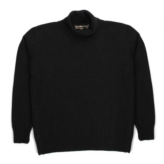 Nupkeet 1946 - Leopardo nero - Pullover collo alto in tricot stretch