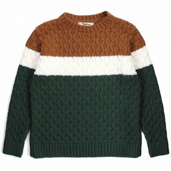Nupkeet 1946 - Piccione verde - Pullover in tricot tricolore