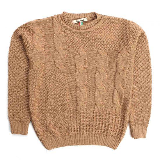Nupkeet 1946 - Faina cammello - Pullover in tricot con trecce
