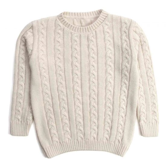 Nupkeet - Mosca panna - Pullover in tricot a trecce